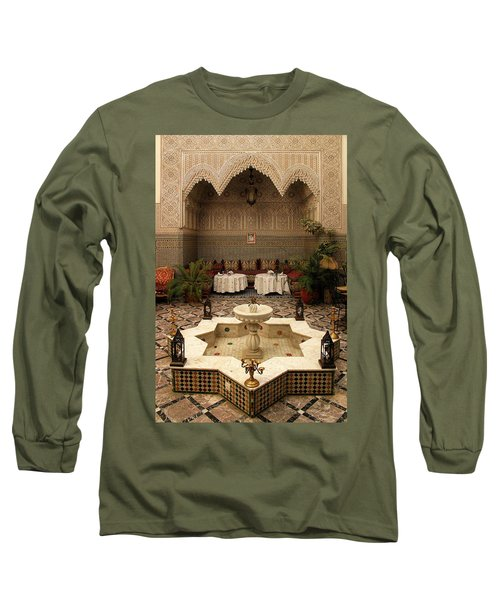 Interior Of A Traditional Riad In Fez Long Sleeve T-Shirt by Ralph A  Ledergerber-Photography