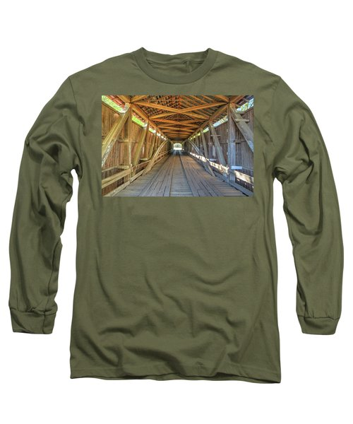 Long Sleeve T-Shirt featuring the photograph Interior View - Conley's Ford Covered Bridgee by Harold Rau