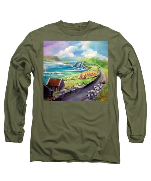 Long Sleeve T-Shirt featuring the painting Ireland Co Kerry by Paul Weerasekera