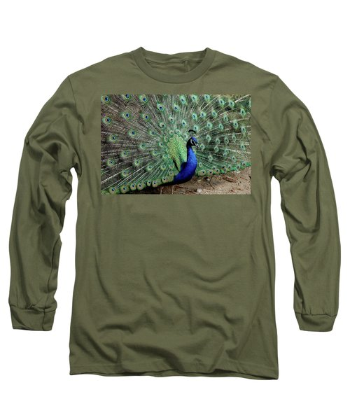 Iridescent Blue-green Peacock Long Sleeve T-Shirt
