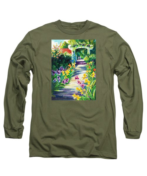 Long Sleeve T-Shirt featuring the painting Iris Garden Walkway   by Kathy Braud