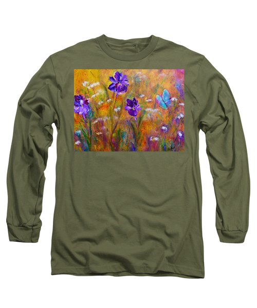 Iris Wildflowers And Butterfly Long Sleeve T-Shirt
