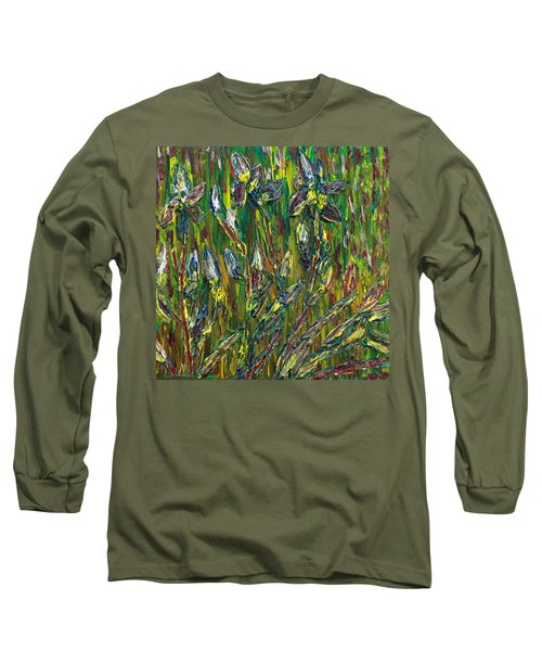 Long Sleeve T-Shirt featuring the painting Irises Dance by Vadim Levin
