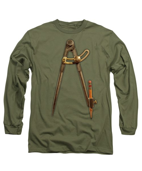 Iron Compass On Color Paper Long Sleeve T-Shirt