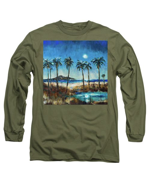 Island Lagoon At Night Long Sleeve T-Shirt