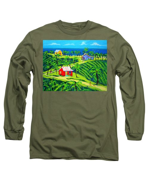 Island Time - Colorful Houses Caribbean Cottages Long Sleeve T-Shirt by Rebecca Korpita