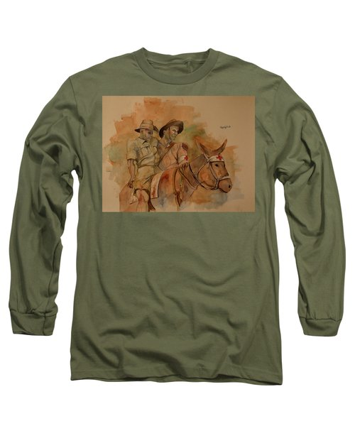 Long Sleeve T-Shirt featuring the painting Jack Simpson And Duffy by Ray Agius