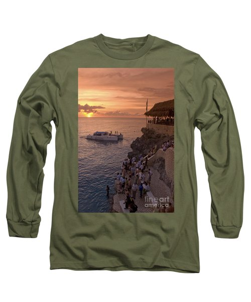 Long Sleeve T-Shirt featuring the photograph Jamaica Negril Ricks Cafe by Juergen Held