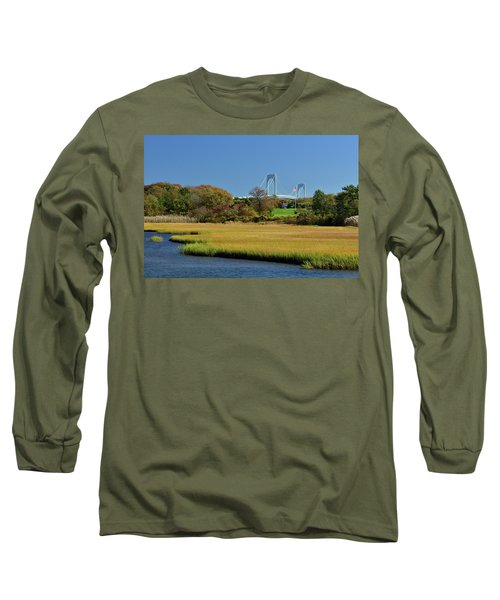 Jamestown Marsh With Pell Bridge Long Sleeve T-Shirt