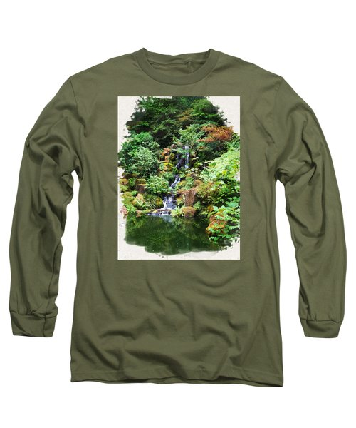 Japanese Garden Waterfall 2 Long Sleeve T-Shirt