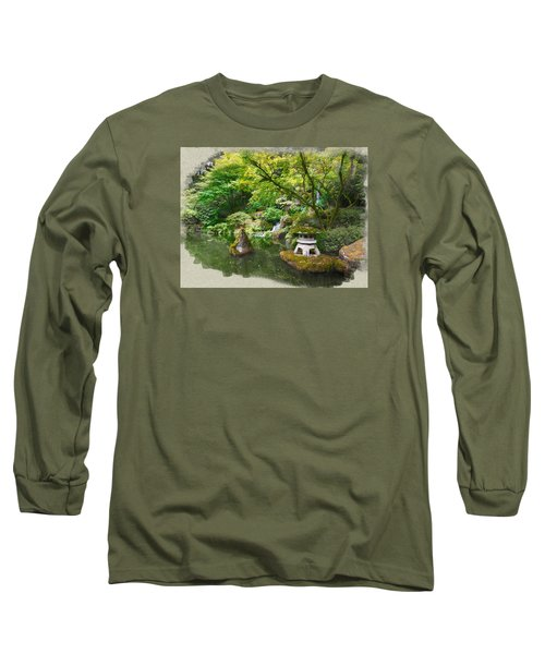 Japanese Garden Waterfall Long Sleeve T-Shirt
