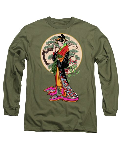 Japanese Girl With A Landscape In The Background. Long Sleeve T-Shirt by Andrzej Szczerski