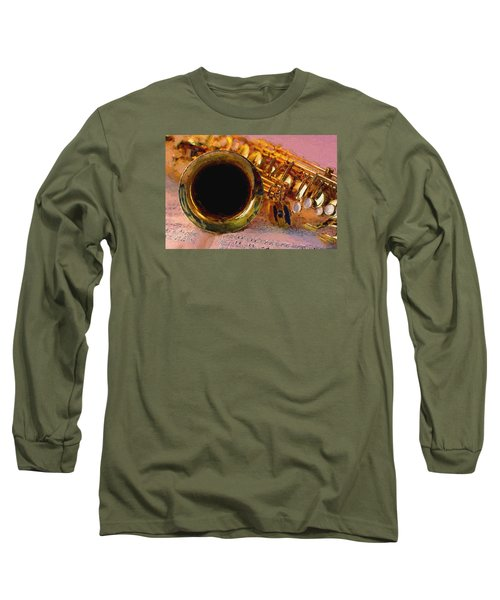 Jazz Saxophone Long Sleeve T-Shirt by Louis Ferreira