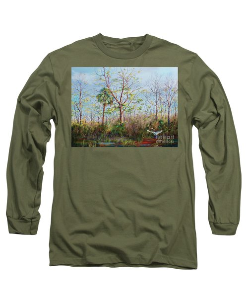 Long Sleeve T-Shirt featuring the painting Jim Creek Lift Off by AnnaJo Vahle