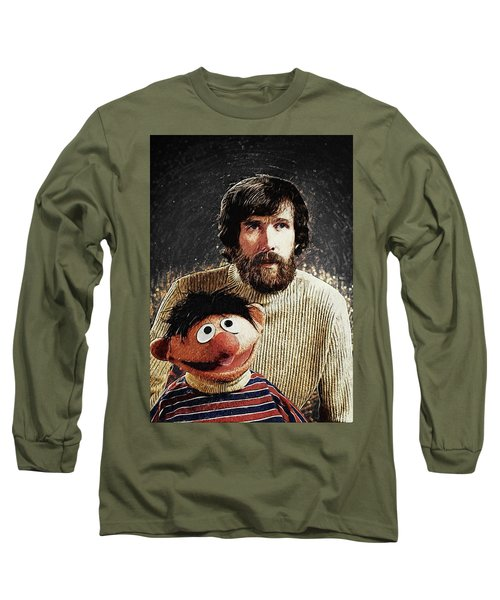 Long Sleeve T-Shirt featuring the digital art Jim Henson With Ernie by Taylan Apukovska