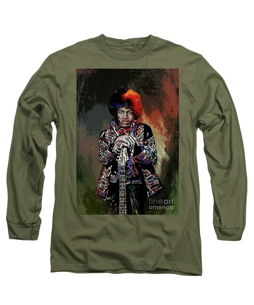 Long Sleeve T-Shirt featuring the painting Jimi  by Andrzej Szczerski