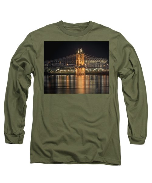 John A. Roebling Suspension Bridge Long Sleeve T-Shirt by Scott Meyer