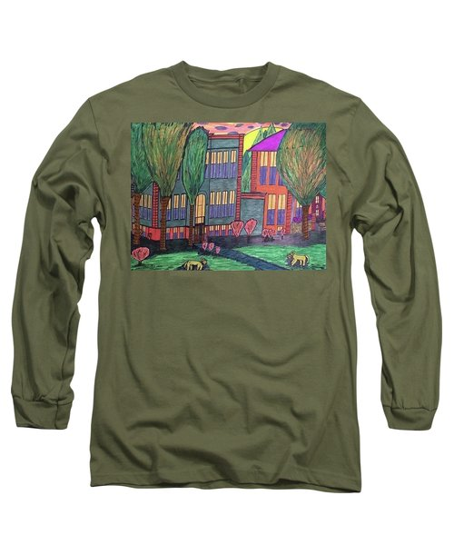 Long Sleeve T-Shirt featuring the drawing Jordan College West Drive Menominee by Jonathon Hansen