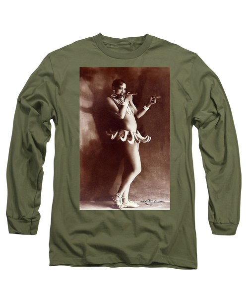 Josephine Baker Lucien Walery   Banana Skirt From The Folies Bergere Production Un Vent De Folie Long Sleeve T-Shirt