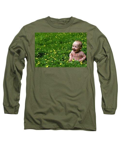 Joyful Baby In Flowers Long Sleeve T-Shirt