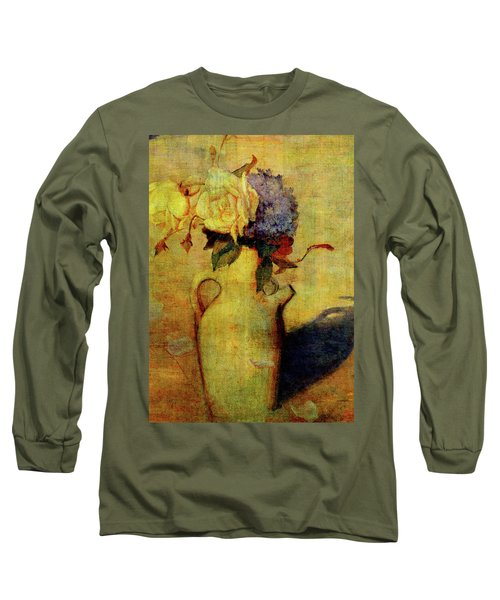 Jug With Yellow And Violet Flowers Long Sleeve T-Shirt