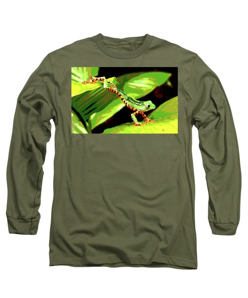 Long Sleeve T-Shirt featuring the mixed media Jumping Frog by Charles Shoup