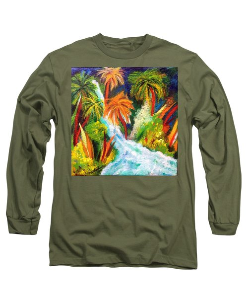 Long Sleeve T-Shirt featuring the painting Jungle Falls by Elizabeth Fontaine-Barr