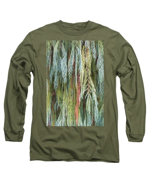 Long Sleeve T-Shirt featuring the photograph Juniper Leaves - Shades Of Green by Ben and Raisa Gertsberg