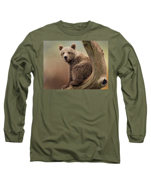 Juvenile Brown Bear - 365-5 Long Sleeve T-Shirt by Inge Riis McDonald
