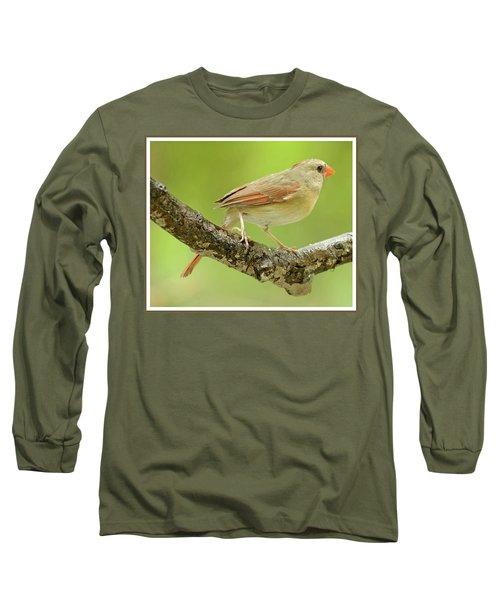 Juvenile, Female Cardinal, Animal Portrait Long Sleeve T-Shirt