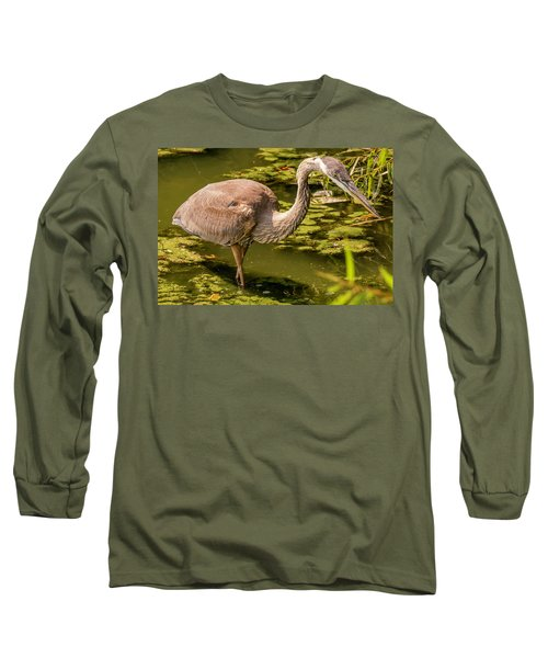 Juvenile Great Blue Heron Long Sleeve T-Shirt