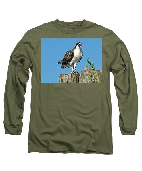 Juvenile Osprey#1 Long Sleeve T-Shirt by Geraldine DeBoer