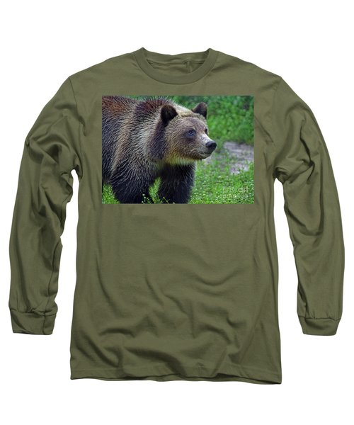 Long Sleeve T-Shirt featuring the photograph Juvie Grizzly by Larry Nieland