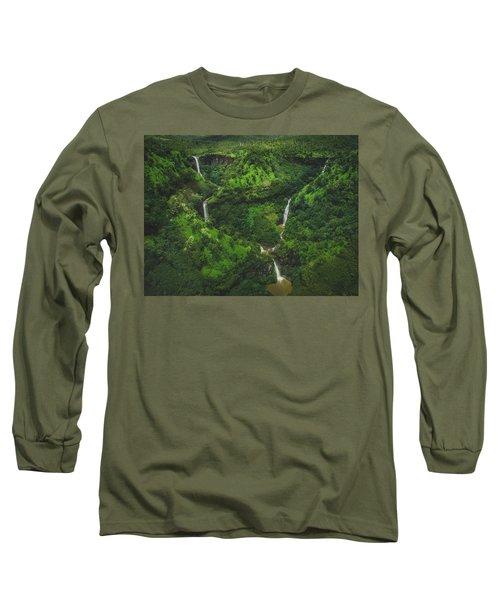 Kahili Falls Aerial Long Sleeve T-Shirt