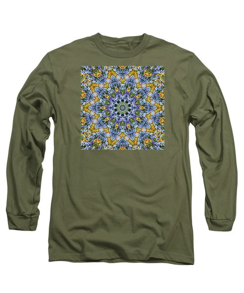 Kaleidoscope - Blue And Yellow Long Sleeve T-Shirt by Nikolyn McDonald