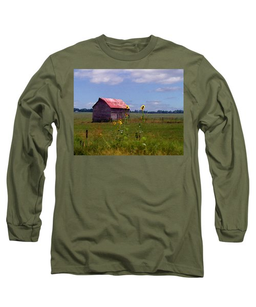 Kansas Landscape Long Sleeve T-Shirt by Steve Karol