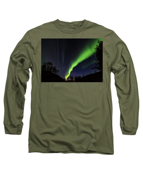 Kantishna Northern Lights In Denali National Park Long Sleeve T-Shirt by Brenda Jacobs