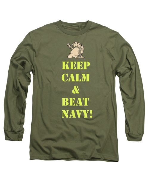 Keep Calm And Beat Navy Long Sleeve T-Shirt by Dan McManus