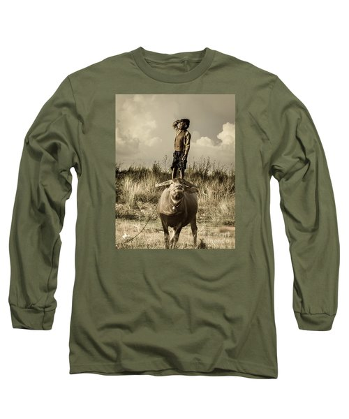 Long Sleeve T-Shirt featuring the photograph Kid And Cow by Arik S Mintorogo