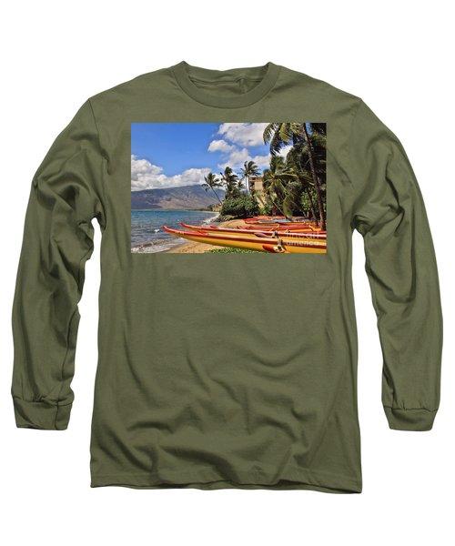 Long Sleeve T-Shirt featuring the photograph Kihei Canoe Maui by DJ Florek