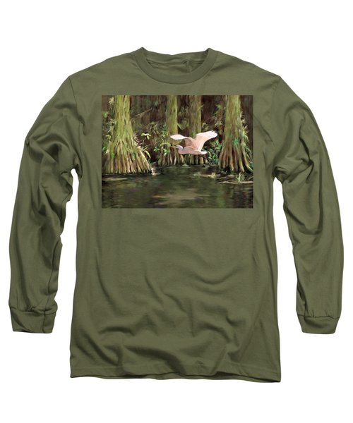 Long Sleeve T-Shirt featuring the painting King Of The Swamp by David  Van Hulst
