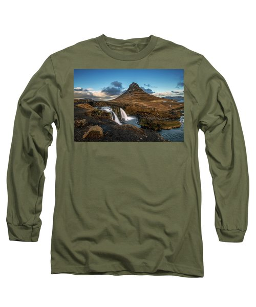 Kirkjufellsfoss Waterfall And Kirkjufell Mountain, Iceland Long Sleeve T-Shirt