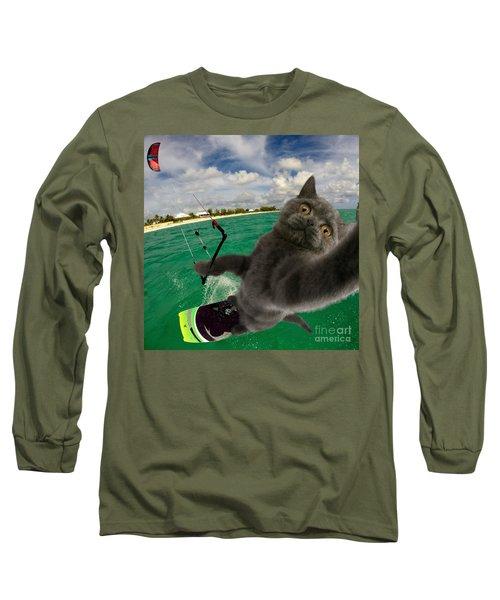 Kite Surfing Cat Selfie Long Sleeve T-Shirt