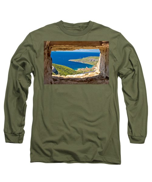 Komiza Bay Aerial View Through Stone Window Long Sleeve T-Shirt
