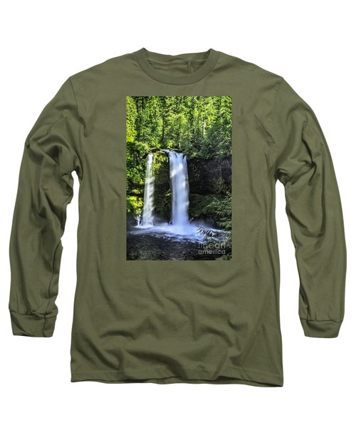 Long Sleeve T-Shirt featuring the photograph Koosa Falls,oregon by Nancy Marie Ricketts