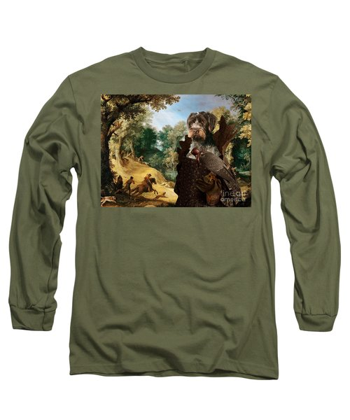 Korthals Pointing Griffon Art Canvas Print - The Hunters And Lady Falconer Long Sleeve T-Shirt