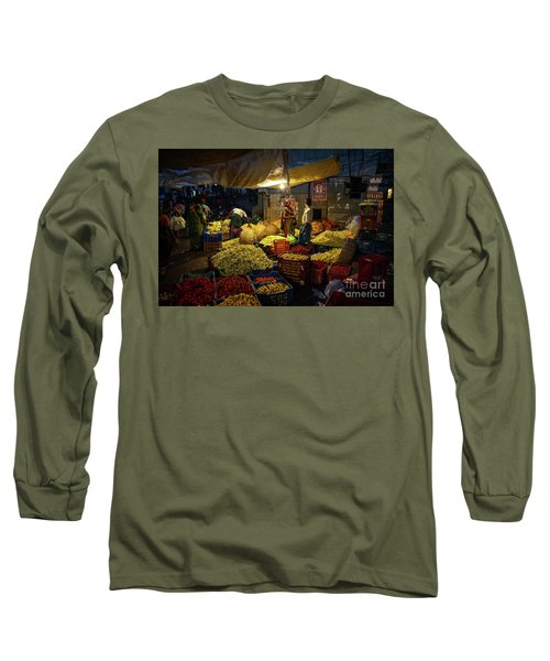 Long Sleeve T-Shirt featuring the photograph Koyambedu Chennai Flower Market Predawn by Mike Reid