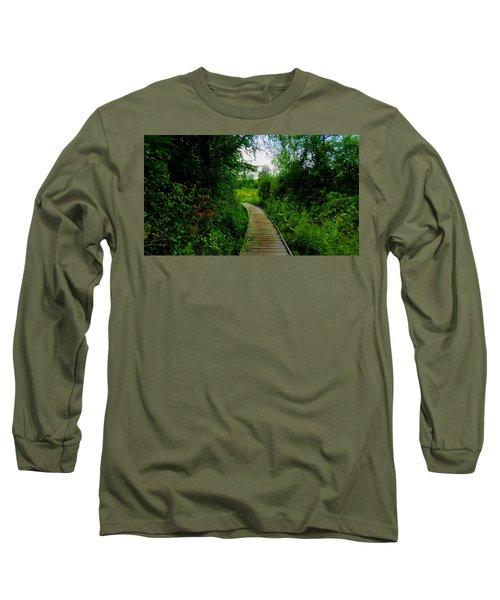 Long Sleeve T-Shirt featuring the photograph La Budde Boardwalk by Kimberly Mackowski