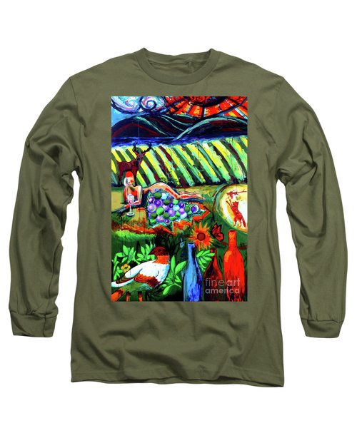 Long Sleeve T-Shirt featuring the painting Lady And The Grapes by Genevieve Esson