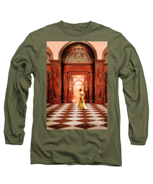 Lady In Golden Gown Walking Through Doorway Long Sleeve T-Shirt